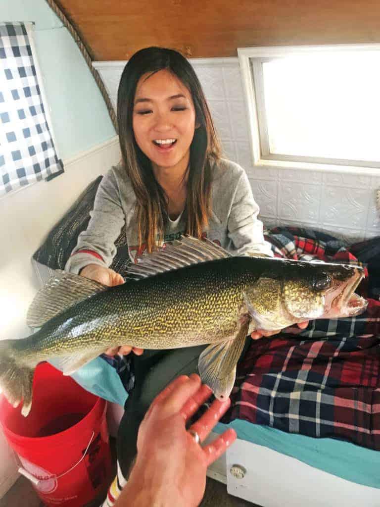 Jenny with her walleye catch.