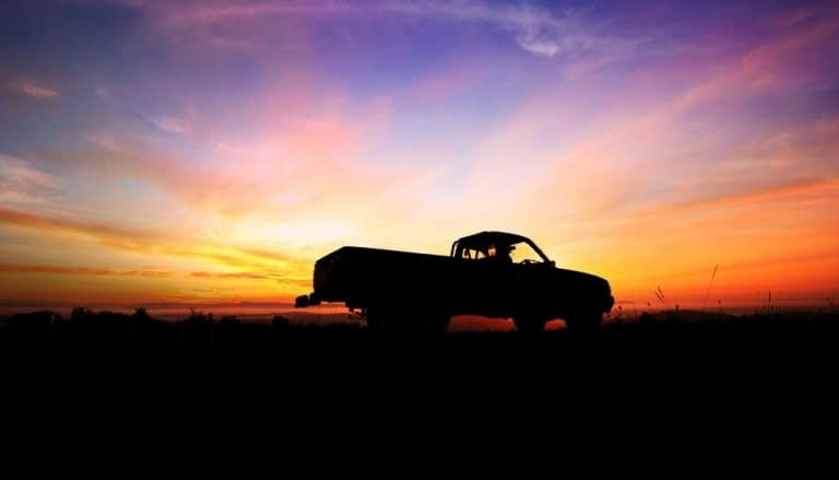 truck with sunset background