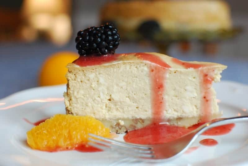Gluten-free Instant Pot Cheesecake: salted caramel with grain-free, nut-based crust.