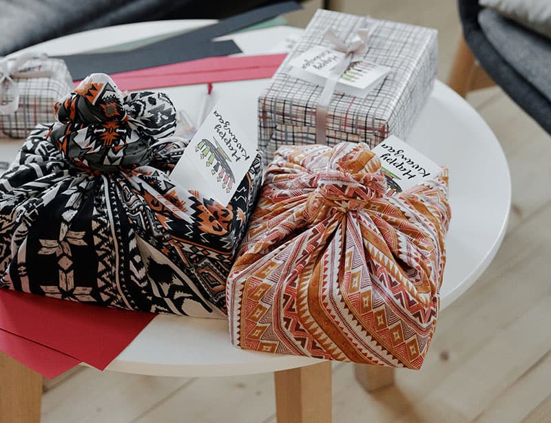 Eco friendly gifts wrapped in material