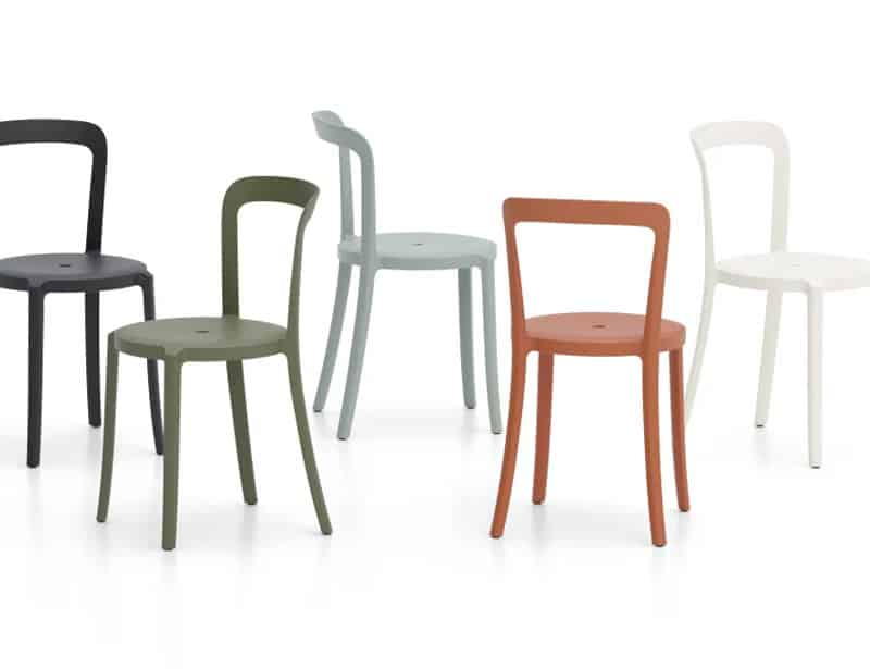 Emeco sustainable furniture 70% recycled plastic chairs