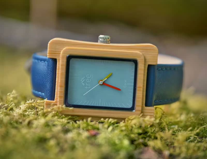 Bamboo blue face sustainable watch