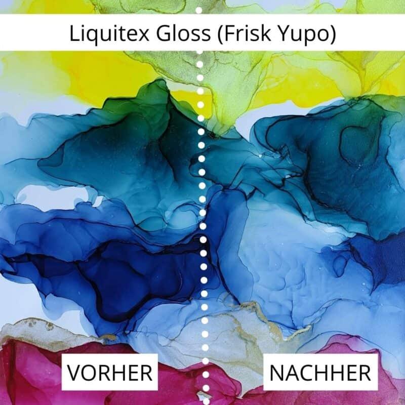 Alcohol Ink Versiegeln Ergebnis: Liquitex Gloss Varnish auf Frisk Yupo