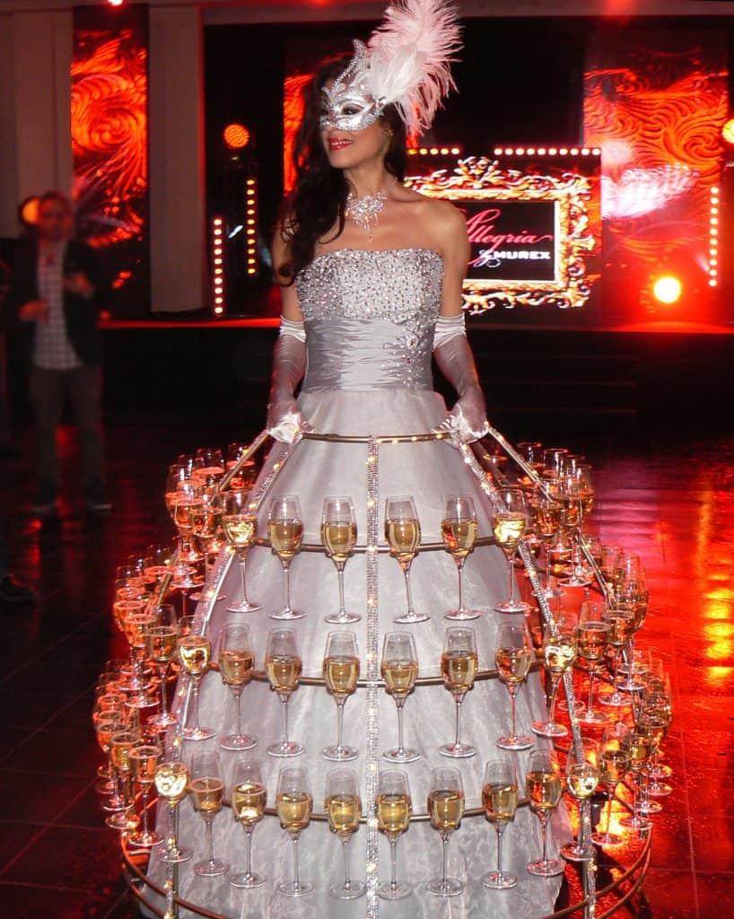 robe à champagne, thème Bal masqué