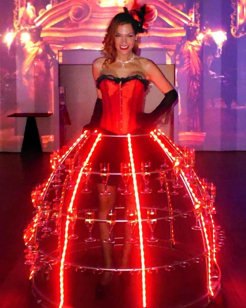 robe à champagne lumineux led, theme cabaret