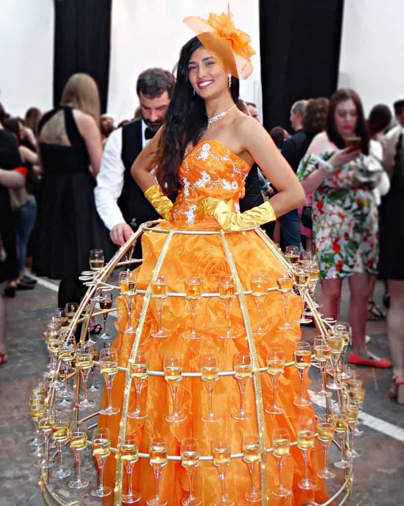 robe à champagne, robe orange