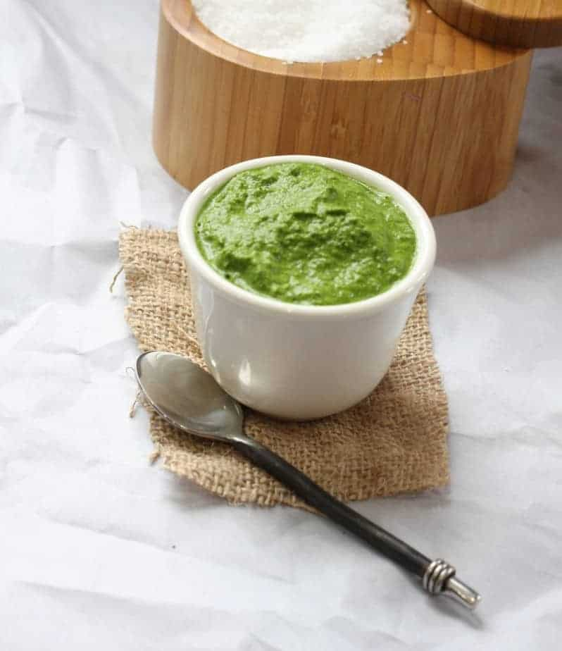 Green chutney made with mint, cilantro ginger and chilies