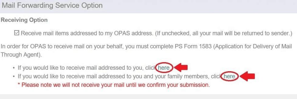 Mail Forwarding Step 2