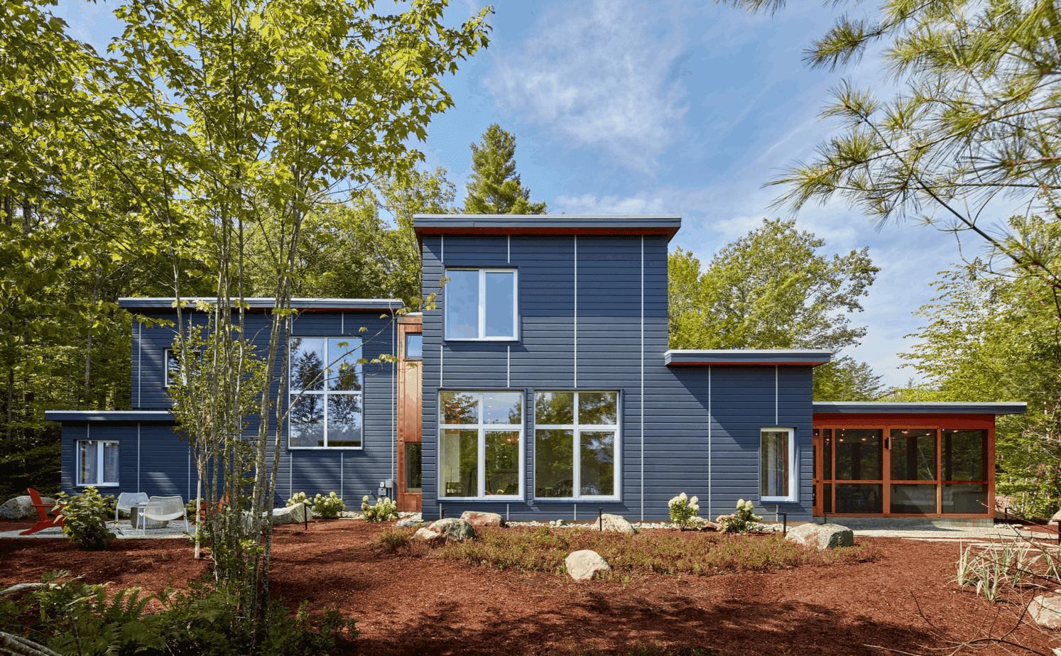 Custom residential NH passive house exterior