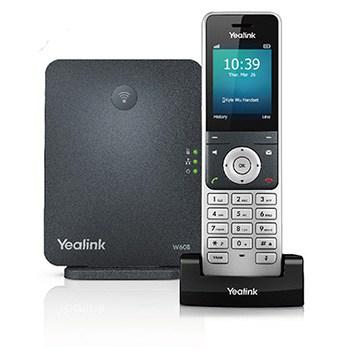 Yealink W56H Model Cordless Phone Next to W60B System Base