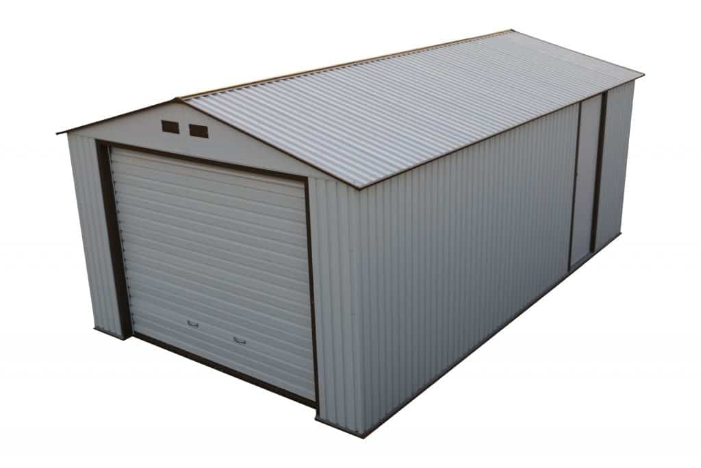 Imperial Metal Garage Off White W/Brown 12x20