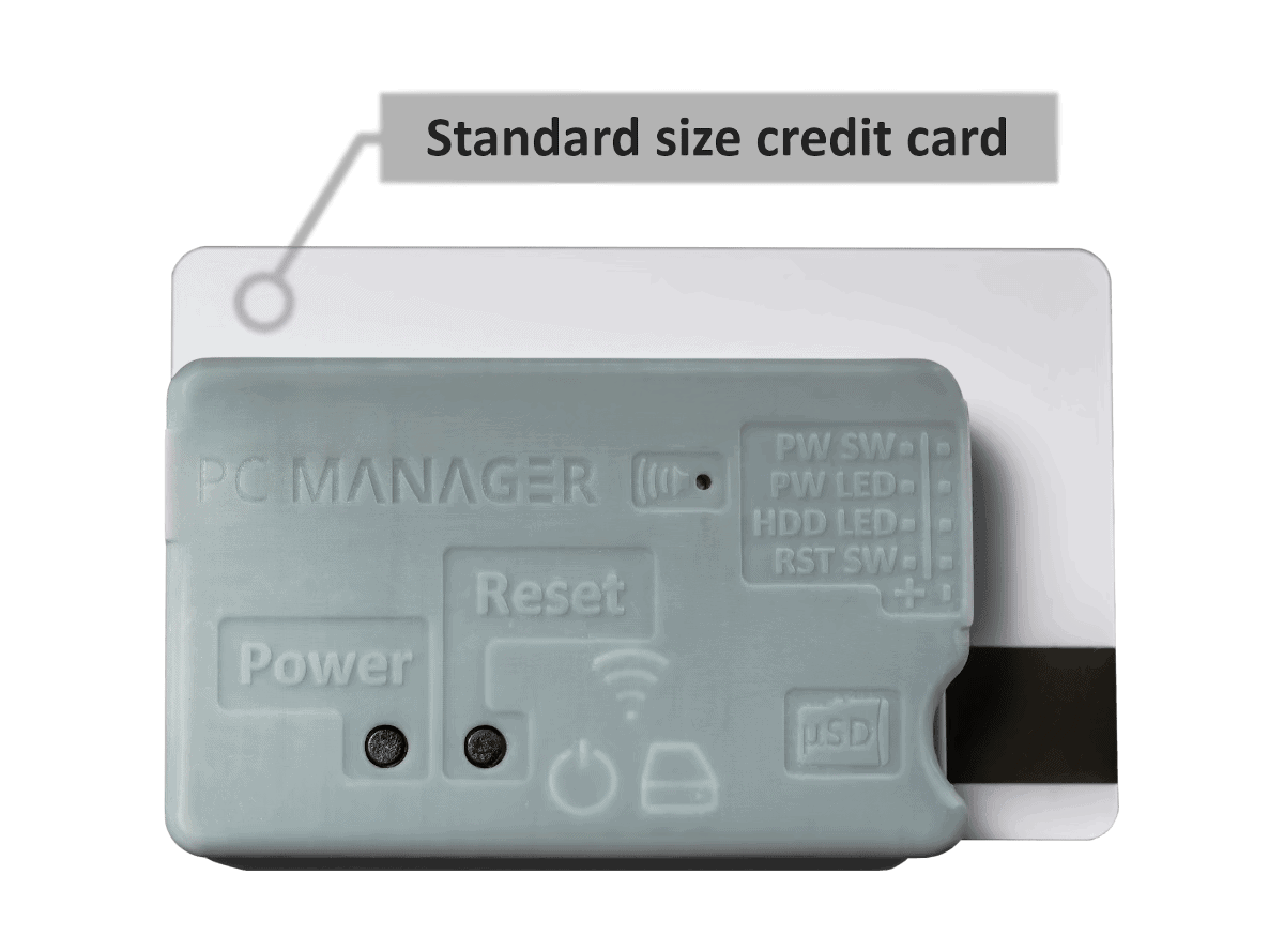 PC Manager size comparison with a standard credit card. PC Manager is 27% smaller.