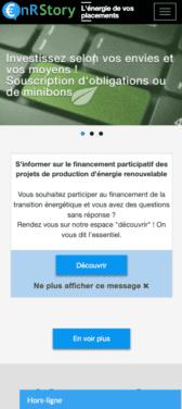 Capture d'écran du site internet mobile ENR Story