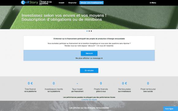 Capture d'écran du site internet ENR Story