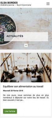 Capture d'écran du site internet mobile Elsa Bordes