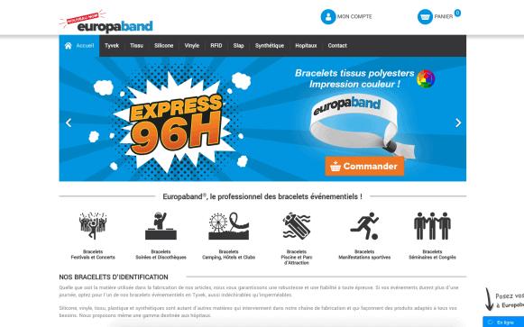 Capture d'écran du site internet Europaband