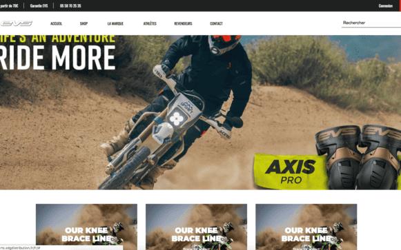 Capture d'écran du site internet EVS Sports