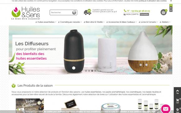 Capture d'écran du site internet Huile et Sens