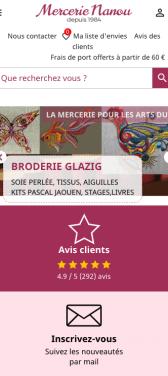 Capture d'écran du site internet mobile Mercerie Nanou