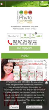 Capture d'écran du site internet mobile Phyto One
