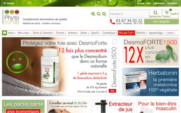 Capture d'écran du site internet Phyto One