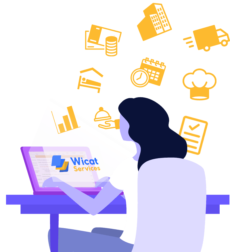 Illustration d'une femme en train de gérer son établissement sur un ordinateur grâce à Wicat Services.