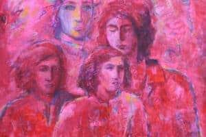 Shafik Radwan, Rosa Damascene, 2015, mixed media on canvas, 100 x 100 cm