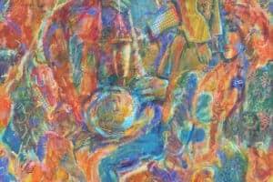 Shafik Radwan, Days in the Past, 2014, mixed media on canvas, 120 x 120 cm