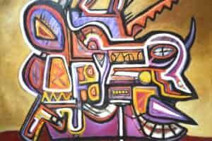Bashir Abu-Rabia, Chaos X, 2016, oil on canvas, 150 x 170 cm