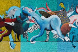 Karim Abu Shakra, Manifestation, 2017, acrylic on canvas, 140 x 300 cm