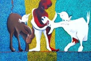 Karim Abu Shakra, Protection, 2017, acrylic on canvas, 100 x 140 cm