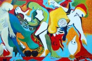 Karim Abu Shakra, Metamorphosis, 2017, acrylic on canvas, 100 x 140 cm