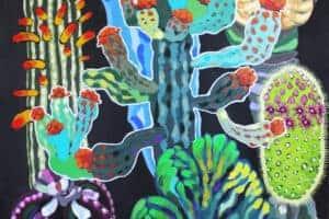 Mohamed Abusal, Jawdat's Garden II, 2016, acrylic on canvas, 192 x 149 cm