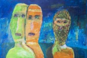 Ibrahim Al Mozain, A Couple and a Masked Man (2018), acrylic on cardboard, 50 x 70 cm