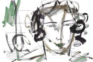 Shafik Radwan, Untitled SR.01 (2011), watercolor on paper, 30 x 42 cm