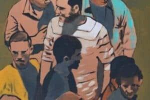 Khaled Hourani, Gathering #2, 2019, acrylic on canvas, 70 x 58 cm
