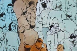 Khaled Hourani, Manifestation, 2019, acrylic on canvas, 105 x 98 cm