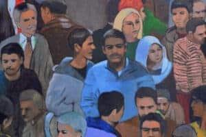 Khaled Hourani, Crowd #1, 2019, acrylic on canvas, 115 x 102 cm