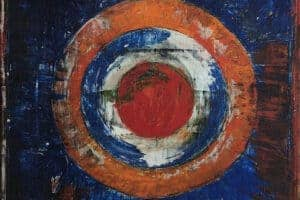 Sager Al Qatil, Untitled #2, 1991, mixed media on canvas, 77 x 52 cm
