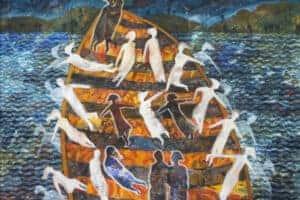 Tayseer Barakat, Shoreless Sea, 2018, acrylic on canvas, 50 x 70 cm