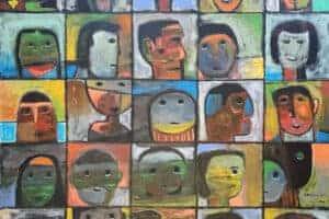 Nabil Anani, Faces (2016), acrylic on canvas, 100 x 100 cm