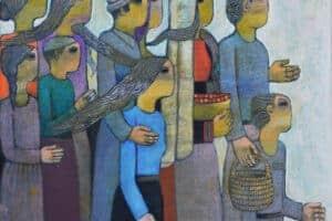 Nabil Anani, Crossing (2016), acrylic on canvas, 115 x 140 cm
