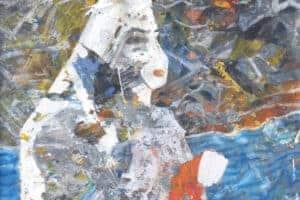 Tayseer Barakat, Shoreless Sea #16, 2019, acrylic on canvas, 47 x 42 cm