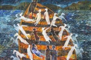 Tayseer Barakat, Shoreless Sea #7, 2019, acrylic on canvas, 70 x 50 cm