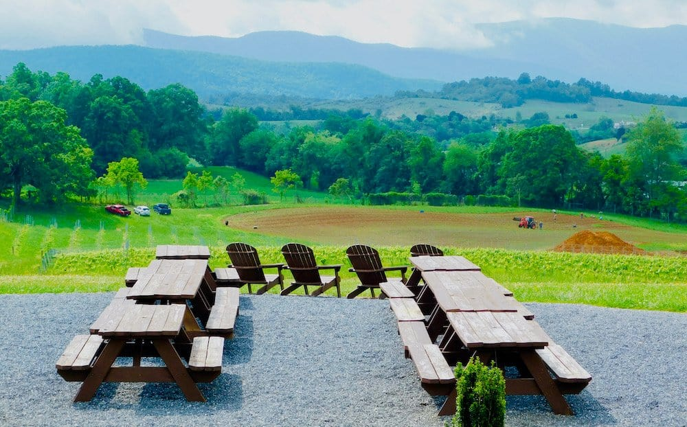 A farm, brewery and vineyard with picnic tables and stunning views of the valley outside of lexington, va, an ideal weekend destination from washington, dc