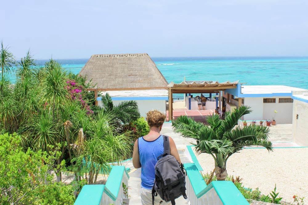 Entrance to Garrafon de Castilla beach club in Isla Mujeres, Mexico.