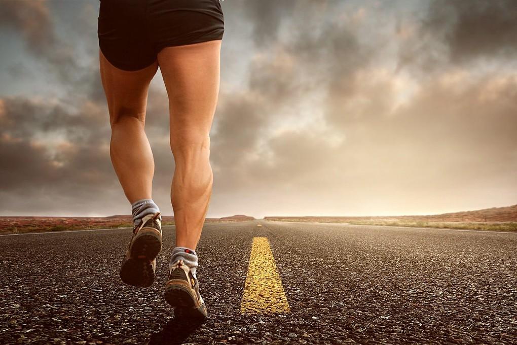 man jogging in the street