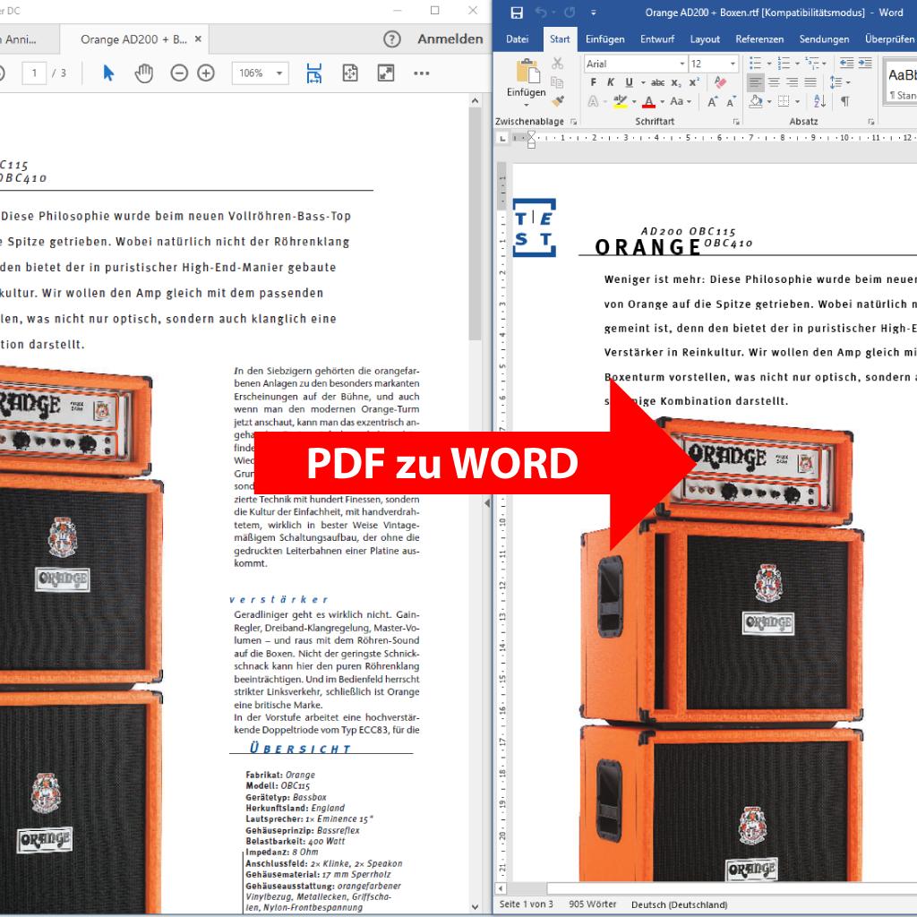 Vergleich: PDF im Adobe Acrobat und daneben exportiert mit PdfGrabber in Microsoft Word