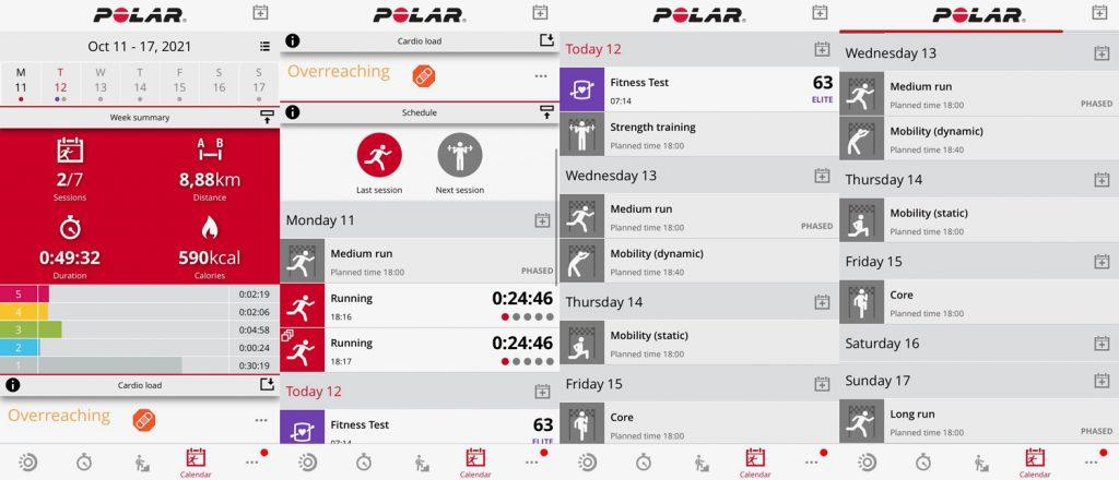 Приложение Polar Flow: вкладка Calendar