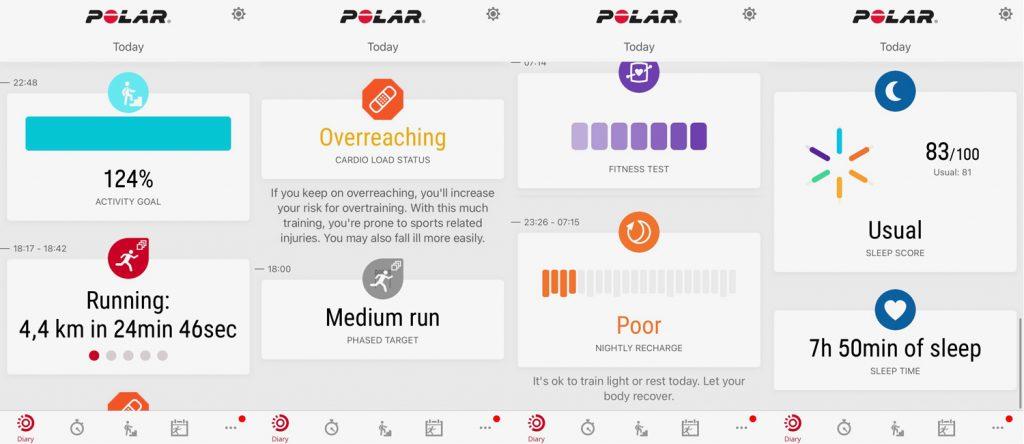 """Вкладка """"Diary"""" в Polar Flow App"""